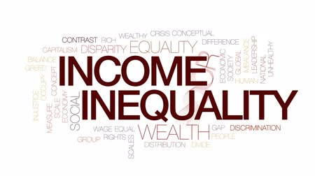 ocupação profissional : Income inequality animated word cloud, text design animation. Kinetic typography.