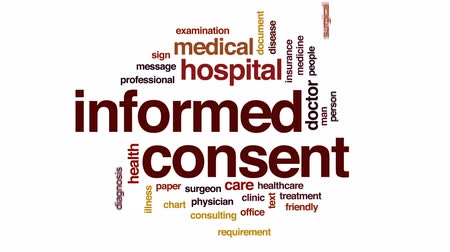 醫療保健 : Informed consent animated word cloud, text design animation.