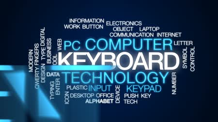 вводить : Keyboard animated word cloud, text design animation. Стоковые видеозаписи