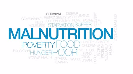 humanidade : Malnutrition animated word cloud, text design animation. Kinetic typography.