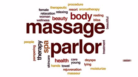 Massage parlor animated word cloud, text design animation. Wideo