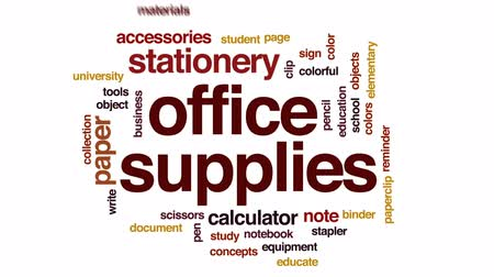 segregatory : Office supplies animated word cloud, text design animation.