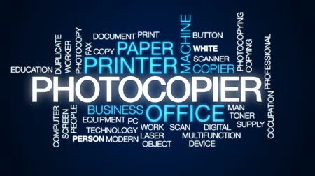 faks : Photocopier animated word cloud, text design animation.