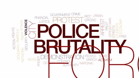 солидарность : Police brutality animated word cloud, text design animation. Kinetic typography. Стоковые видеозаписи