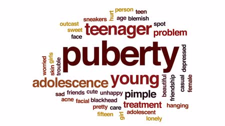 idade média : Puberty animated word cloud, text design animation. Stock Footage