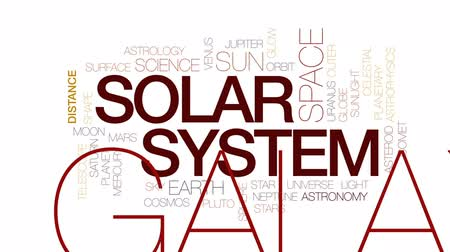 teleskop : Solar system animated word cloud, text design animation. Kinetic typography. Stok Video