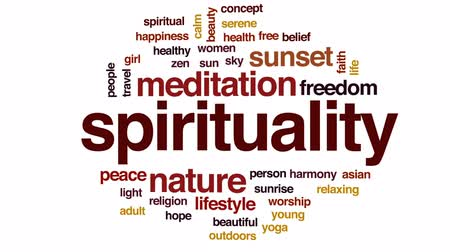 Spirituality animated word cloud, text design animation. Stock Footage