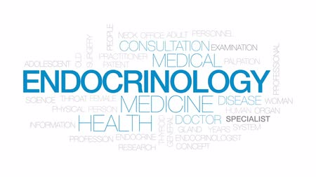 Endocrinology animated word cloud, text design animation. Kinetic typography.