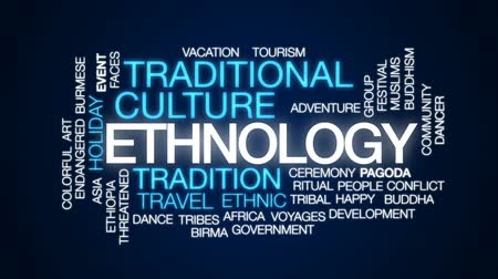 birmânia : Ethnology animated word cloud, text design animation.