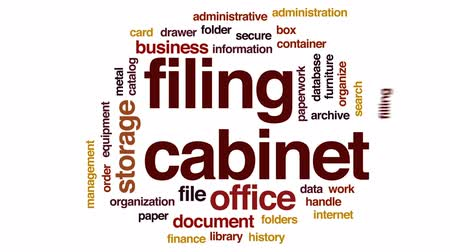 katalog : Filing cabinet animated word cloud, text design animation. Wideo