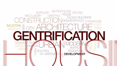 townhouse : Gentrification animated word cloud, text design animation. Kinetic typography. Stock Footage