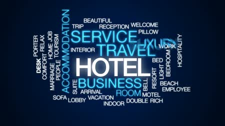 hotel suite : Hotel animated word cloud, text design animation. Stock Footage