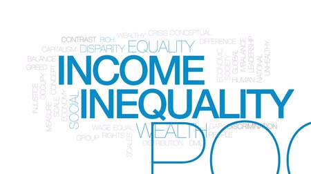 social inequality : Income inequality animated word cloud, text design animation. Kinetic typography.