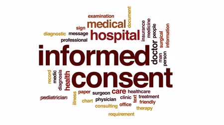 healthy office : Informed consent animated word cloud, text design animation.