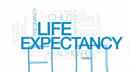 expectancy : Life expectancy animated word cloud, text design animation. Kinetic typography.