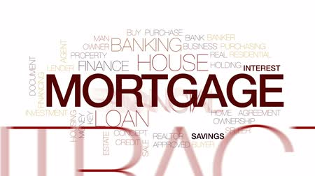 Mortgage animated word cloud, text design animation. Kinetic typography. Wideo