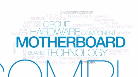 polovodič : Motherboard animated word cloud, text design animation. Kinetic typography.