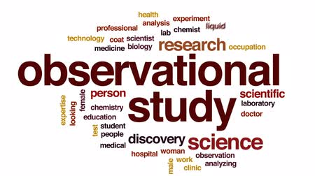 scientific : Observational study animated word cloud, text design animation.