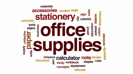 kalkulačka : Office supplies animated word cloud, text design animation.