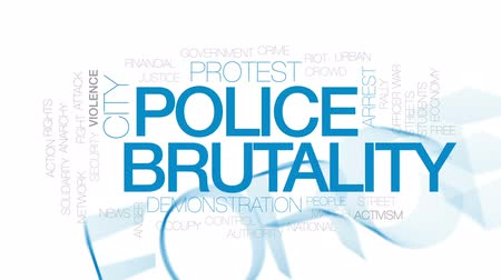 ocupação profissional : Police brutality animated word cloud, text design animation. Kinetic typography. Stock Footage