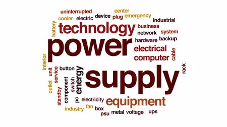 фэн : Power supply animated word cloud, text design animation.