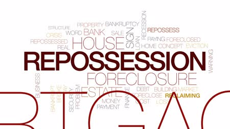 Repossession animated word cloud, text design animation. Kinetic typography. Wideo