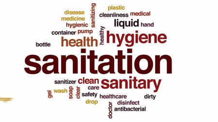 dezenfektan : Sanitation animated word cloud, text design animation. Stok Video