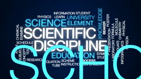 fegyelem : Scientific discipline animated word cloud, text design animation.
