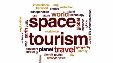 roket : Space tourism animated word cloud, text design animation. Stok Video
