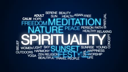 religion health : Spirituality animated word cloud, text design animation. Stock Footage
