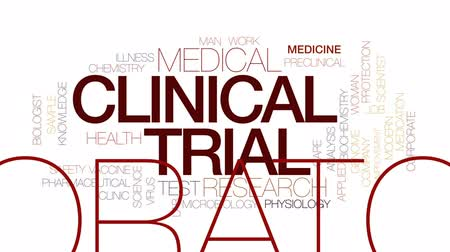 przychodnia : Clinical trial animated word cloud, text design animation. Kinetic typography. Wideo