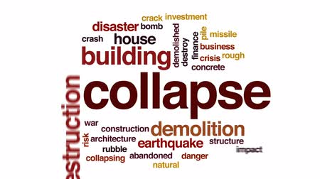 catástrofe : Collapse animated word cloud, text design animation. Vídeos