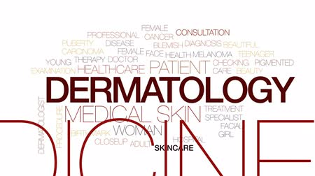 пятна : Dermatology animated word cloud, text design animation. Kinetic typography.