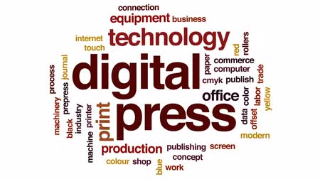 impressão digital : Digital press animated word cloud, text design animation.