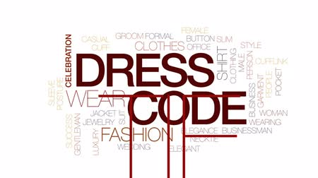 sleeve : Dress code animated word cloud, text design animation. Kinetic typography.