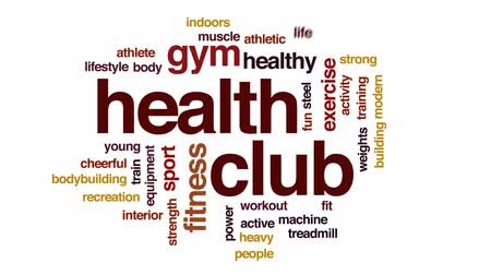 ağır çekimli : Health club animated word cloud, text design animation. Stok Video