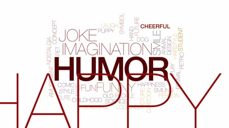 żart : Humor animated word cloud, text design animation. Kinetic typography.