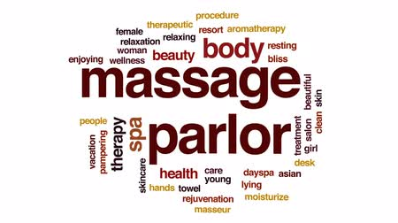 mimos : Massage parlor animated word cloud, text design animation. Stock Footage