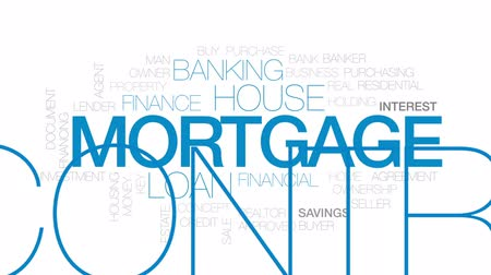 financování : Mortgage animated word cloud, text design animation. Kinetic typography. Dostupné videozáznamy