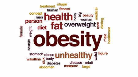 Obesity animated word cloud, text design animation. Wideo