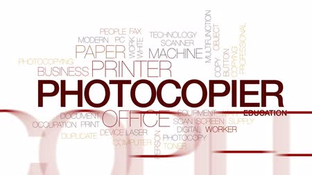 toner : Photocopier animated word cloud, text design animation. Kinetic typography. Stock Footage