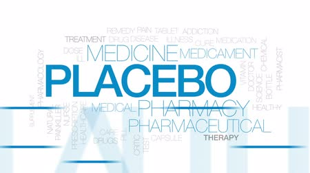 farmacologia : Placebo animated word cloud, text design animation. Kinetic typography.