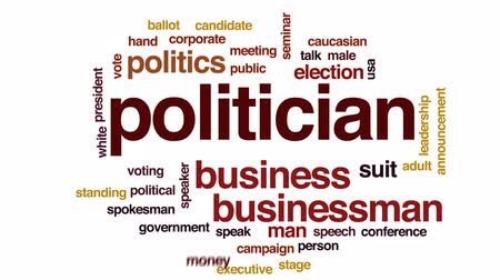 siyasi : Politician animated word cloud, text design animation. Stok Video