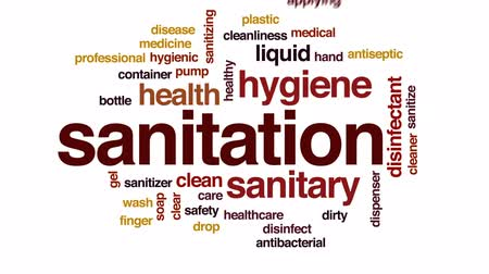 disinfectant : Sanitation animated word cloud, text design animation. Stock Footage