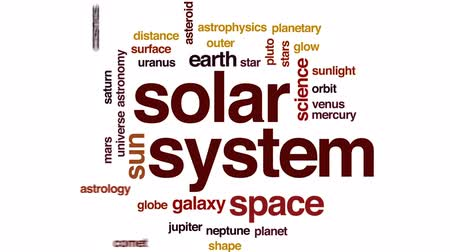 távcső : Solar system animated word cloud, text design animation. Stock mozgókép