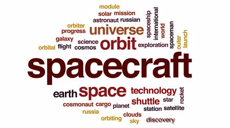 orbital : Spacecraft animated word cloud, text design animation.