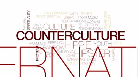 вегетарианство : Counterculture animated word cloud, text design animation. Kinetic typography. Стоковые видеозаписи
