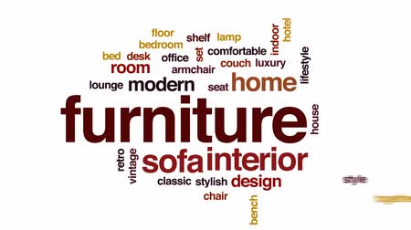 Furniture animated word cloud, text design animation. Wideo