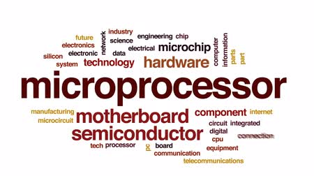 entegre : Microprocessor animated word cloud, text design animation. Stok Video