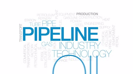 csővezeték : Pipeline animated word cloud, text design animation. Kinetic typography.